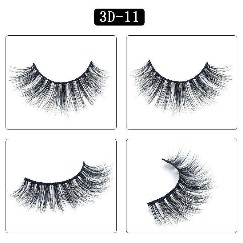 Mink Hair Natural Fake Eyelashes Cross Thick Eye Lashes 1Pair 3D11