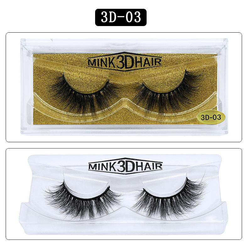 Mink Hair Natural Fake Eyelashes Cross Thick Eye Lashes 1Pair 3D03
