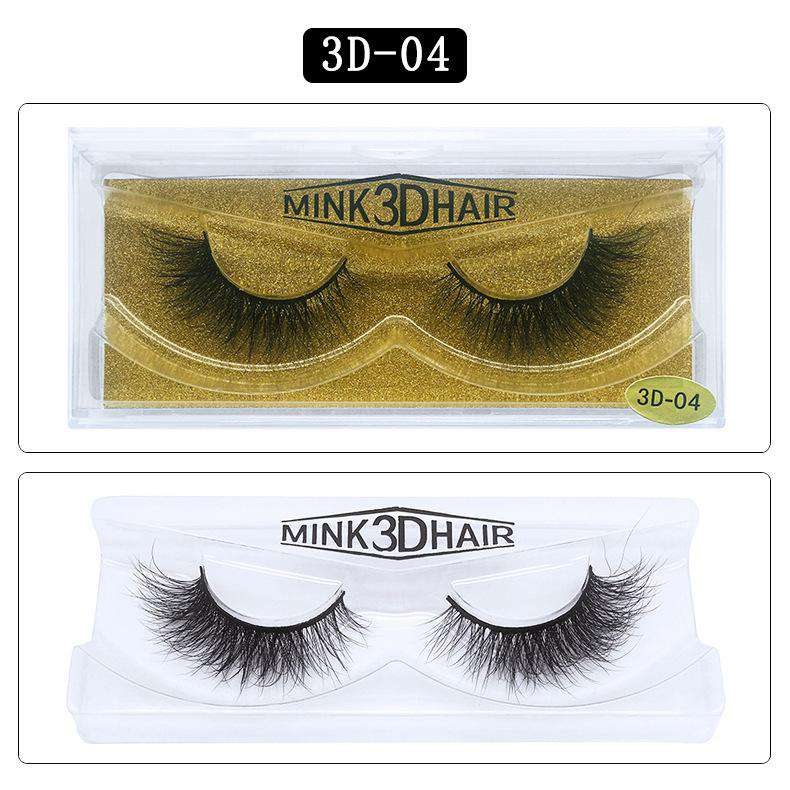 Mink Hair Natural Fake Eyelashes Cross Thick Eye Lashes 1Pair 3D04