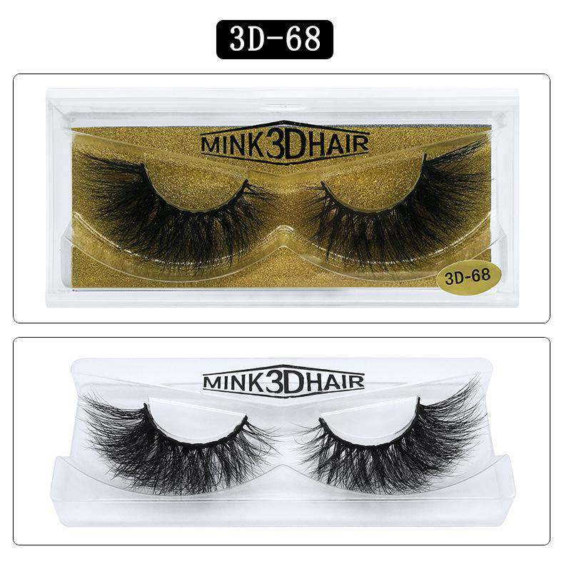 Mink Hair Natural Fake Eyelashes Cross Thick Eye Lashes 1Pair 3D68