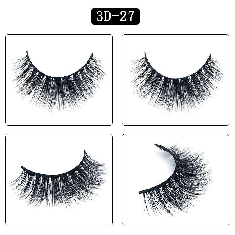 Mink Hair Natural Fake Eyelashes Cross Thick Eye Lashes 1Pair 3D27