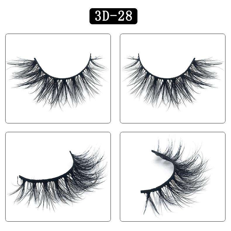 Mink Hair Natural Fake Eyelashes Cross Thick Eye Lashes 1Pair 3D28