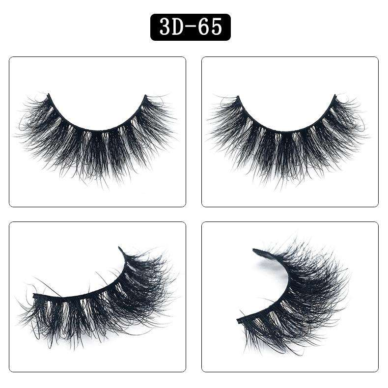 Mink Hair Natural Fake Eyelashes Cross Thick Eye Lashes 1Pair 3D65