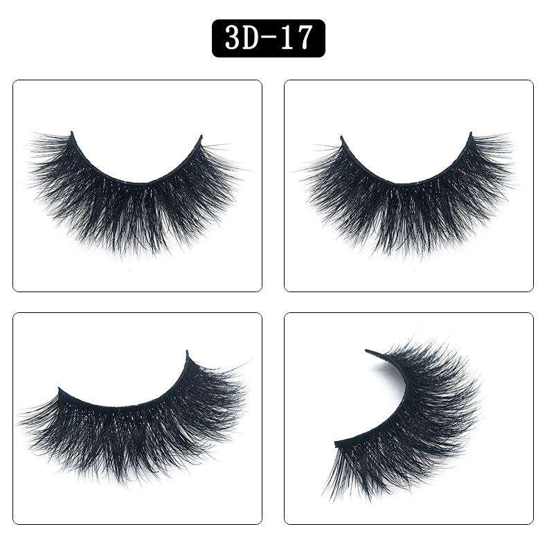 Mink Hair Natural Fake Eyelashes Cross Thick Eye Lashes 1Pair 3D17