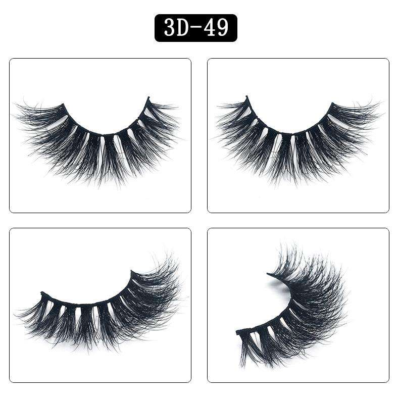 Mink Hair Natural Fake Eyelashes Cross Thick Eye Lashes 1Pair 3D49