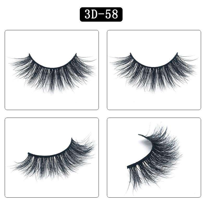 Mink Hair Natural Fake Eyelashes Cross Thick Eye Lashes 1Pair 3D58