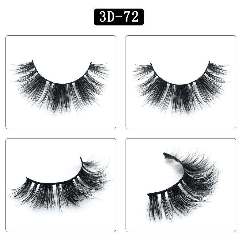 Mink Hair Natural Fake Eyelashes Cross Thick Eye Lashes 1Pair 3D72