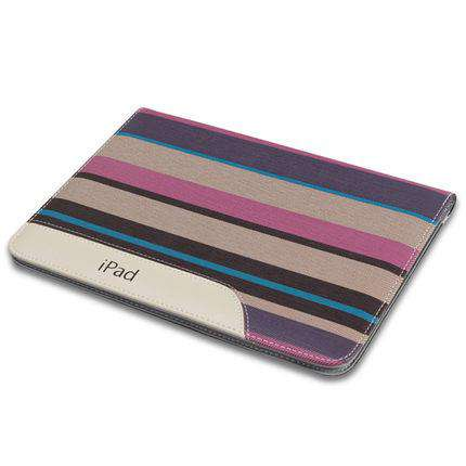 Patchwork Stripe Leather Apple iPad Cover Case gallery 3