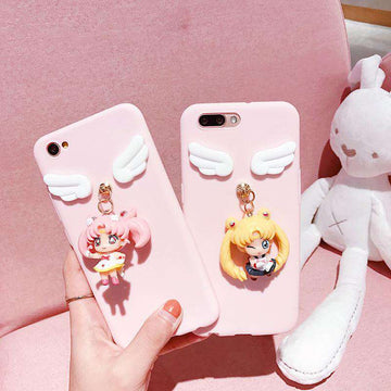 Solid Color Samsung Case with Lovable 3D Girl