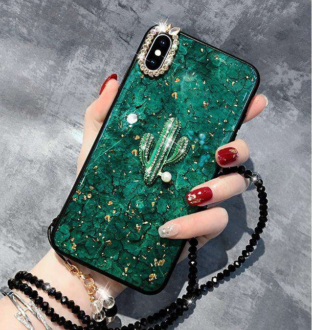 Green Gold Foil  Phone Case with Chain and Cactus for Samsung