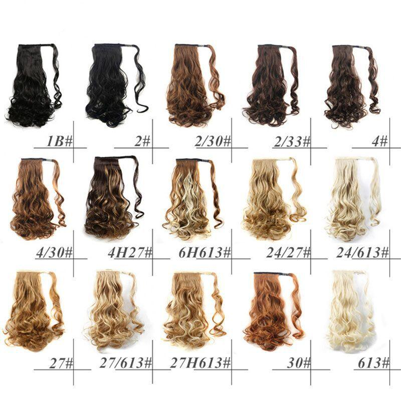 3Pcs Long Curly Velcro Invisible Wrap around Ponytail Hair Extensions Wig