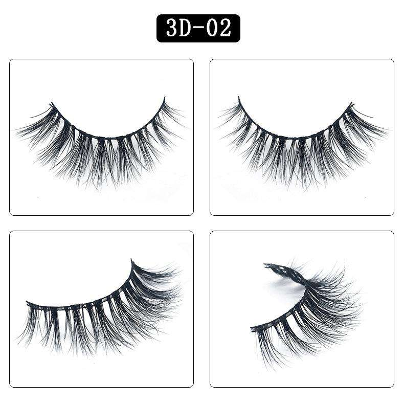 Mink Hair Natural Fake Eyelashes Cross Thick Eye Lashes 1Pair 3D02