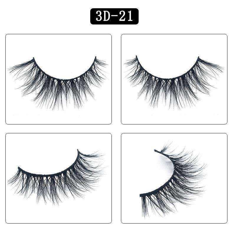 Mink Hair Natural Fake Eyelashes Cross Thick Eye Lashes 1Pair 3D21