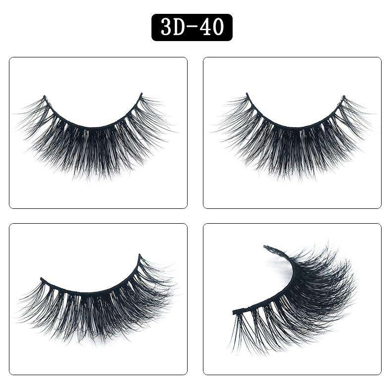 Mink Hair Natural Fake Eyelashes Cross Thick Eye Lashes 1Pair 3D40