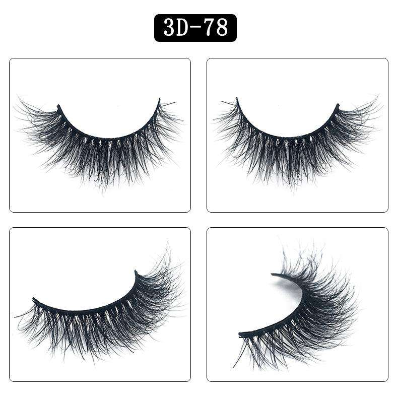 Mink Hair Natural Fake Eyelashes Cross Thick Eye Lashes 1Pair 3D78