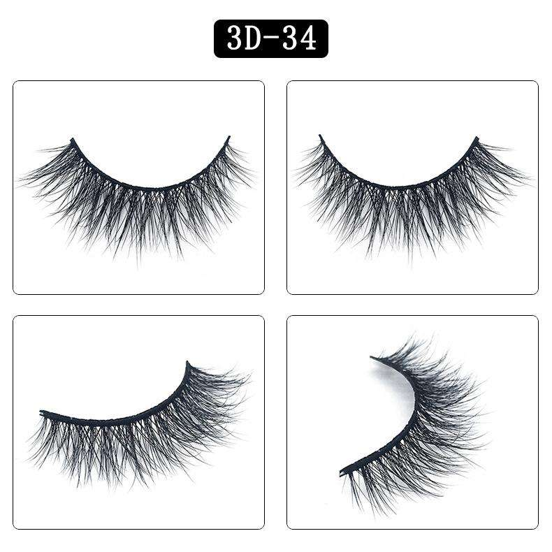 Mink Hair Natural Fake Eyelashes Cross Thick Eye Lashes 1Pair 3D34