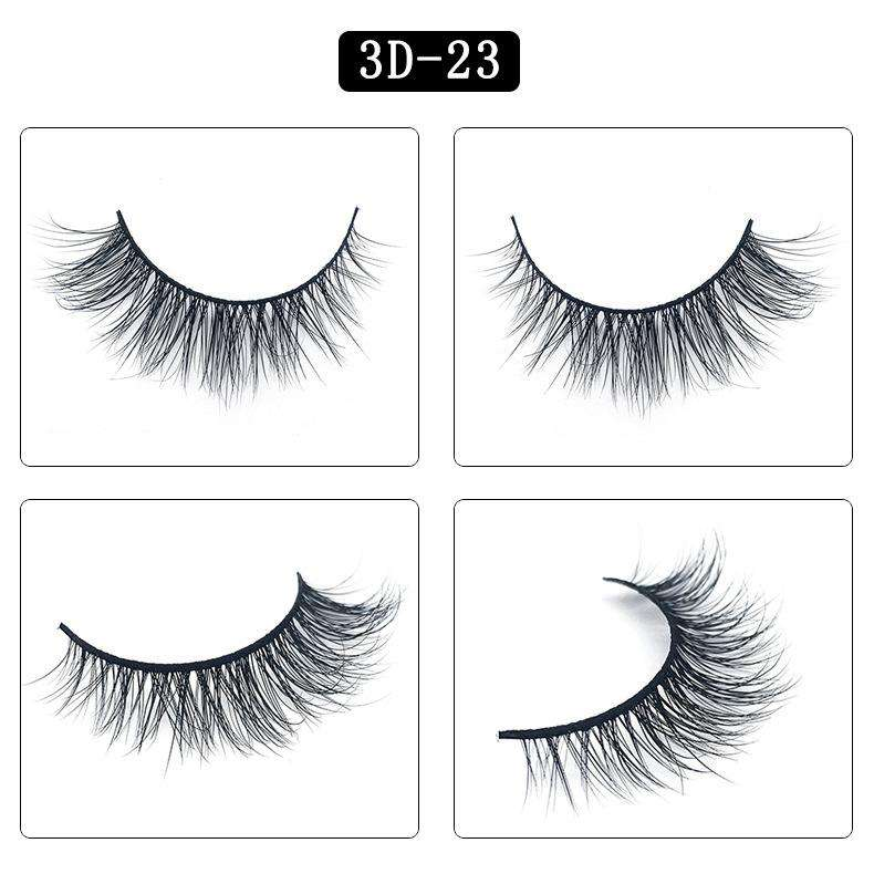 Mink Hair Natural Fake Eyelashes Cross Thick Eye Lashes 1Pair 3D23