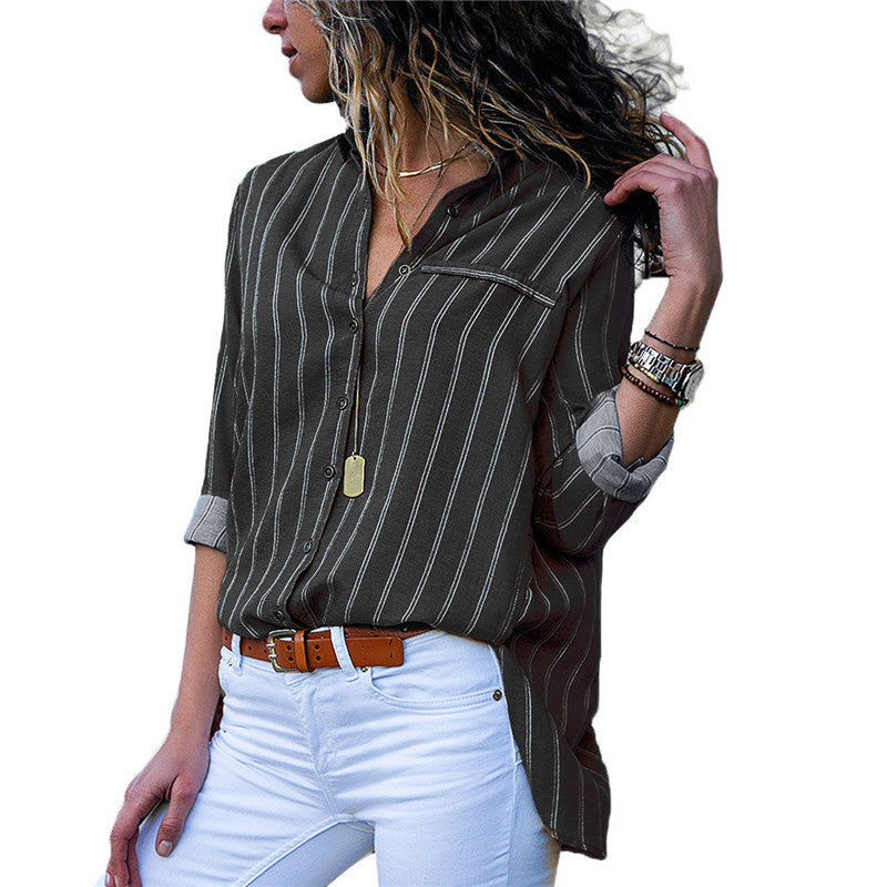 Casual Solid Stripe Long Sleeve V-neck Shirt