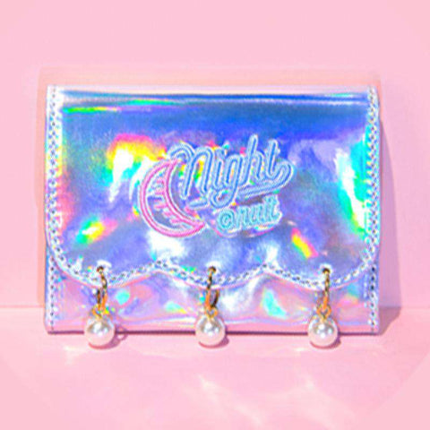 Pearl Decorated Laser Wallet Card Holder Techno Style gallery 7