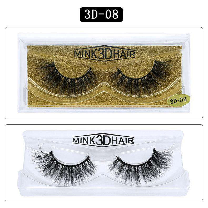 Mink Hair Natural Fake Eyelashes Cross Thick Eye Lashes 1Pair 3D08