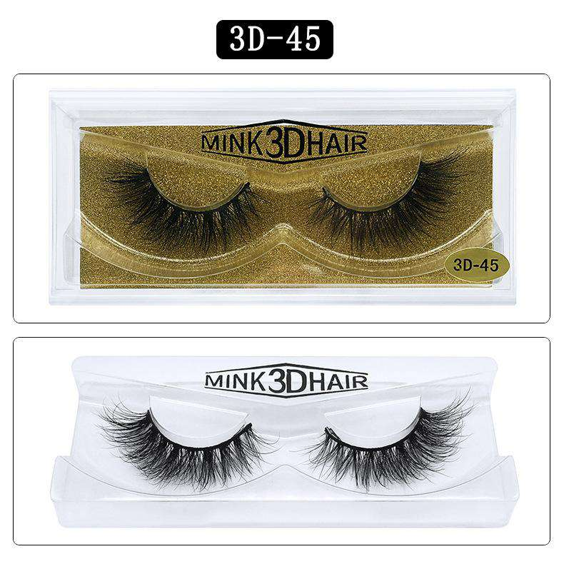 Mink Hair Natural Fake Eyelashes Cross Thick Eye Lashes 1Pair 3D45