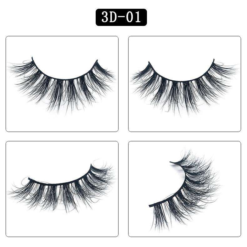Mink Hair Natural Fake Eyelashes Cross Thick Eye Lashes 1Pair 3D01