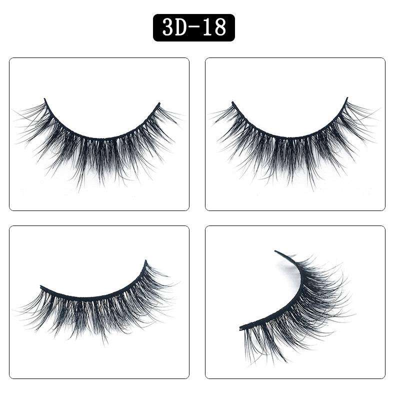 Mink Hair Natural Fake Eyelashes Cross Thick Eye Lashes 1Pair 3D18