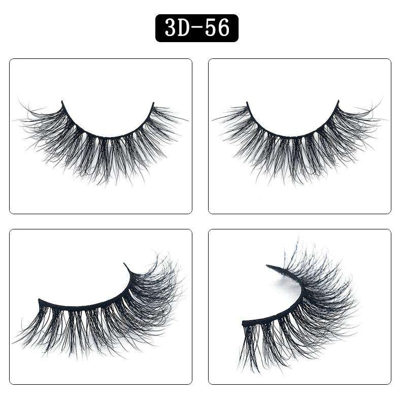 Mink Hair Natural Fake Eyelashes Cross Thick Eye Lashes 1Pair 3D56