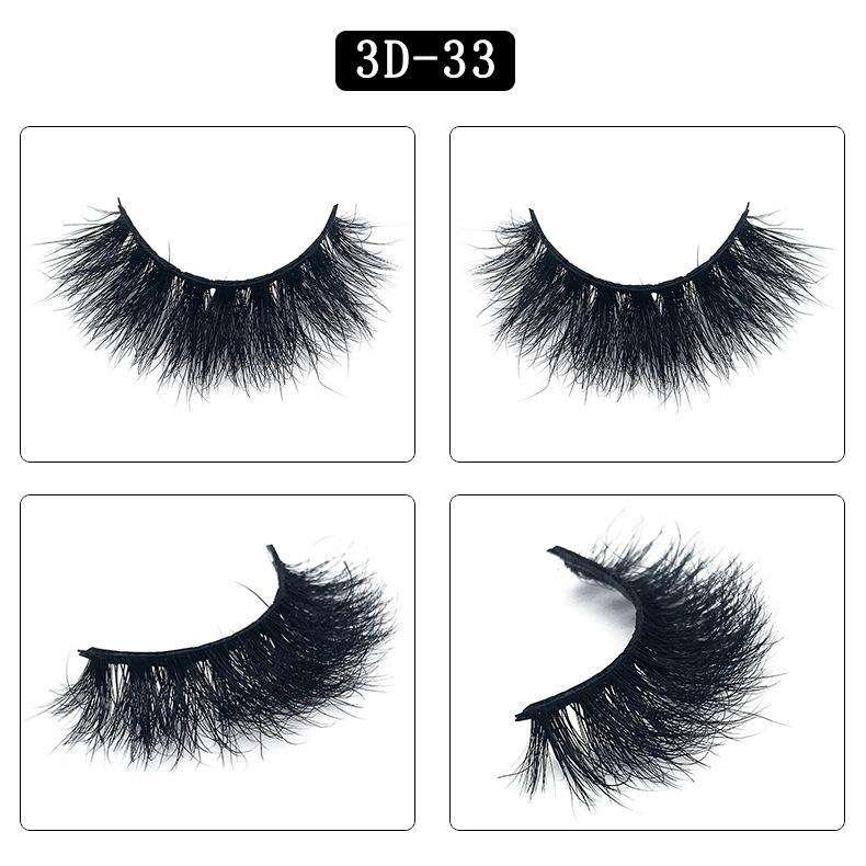 Mink Hair Natural Fake Eyelashes Cross Thick Eye Lashes 1Pair 3D33