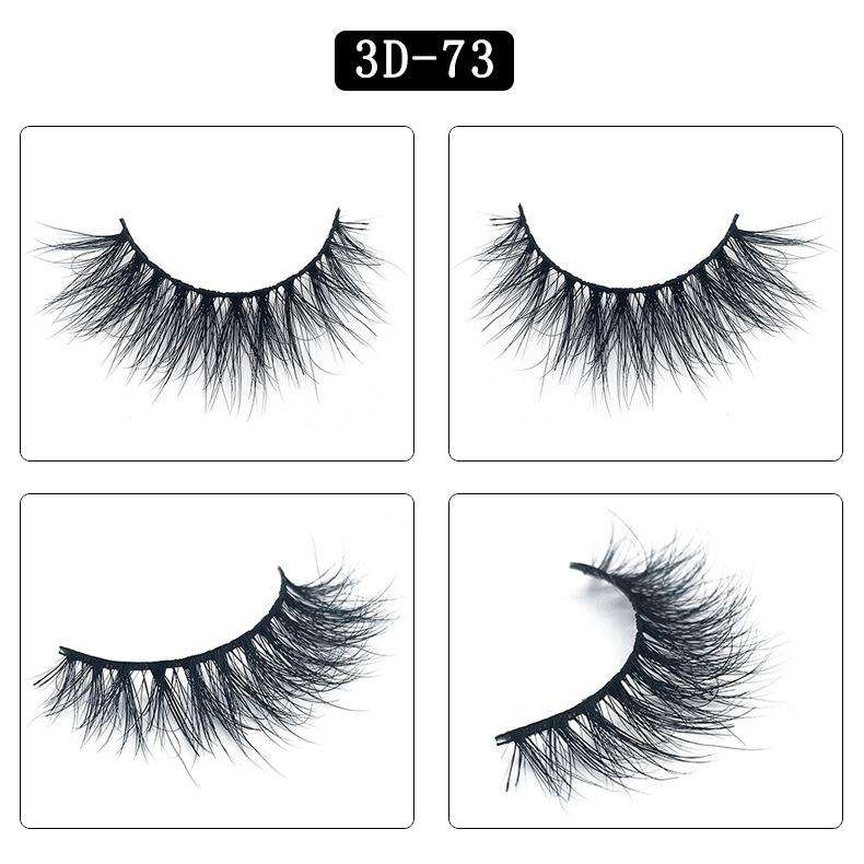 Mink Hair Natural Fake Eyelashes Cross Thick Eye Lashes 1Pair 3D73
