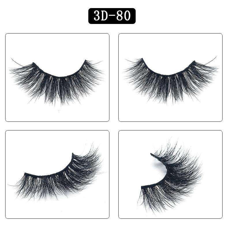 Mink Hair Natural Fake Eyelashes Cross Thick Eye Lashes 1Pair 3D80