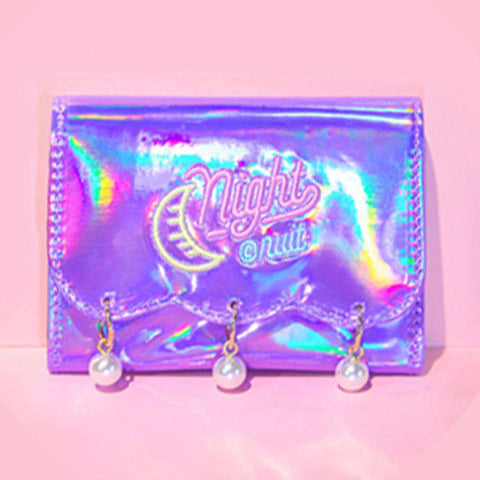Pearl Decorated Laser Wallet Card Holder Techno Style gallery 6