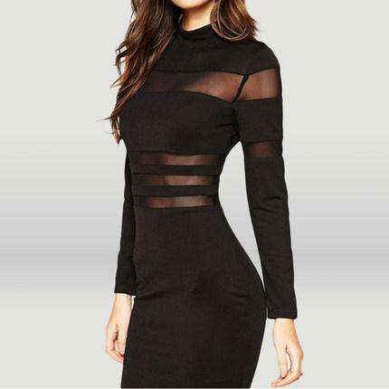 Sexy Perspective Stripe Stitching Buttock Skirt Slim Long Sleeve Dress