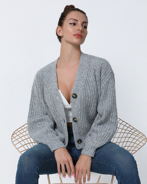 Button Up Rib-Knit Cardigan