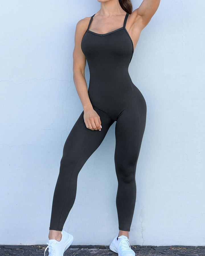 Criss Cross Cut Out Back Sports Jumpsuit gallery 9