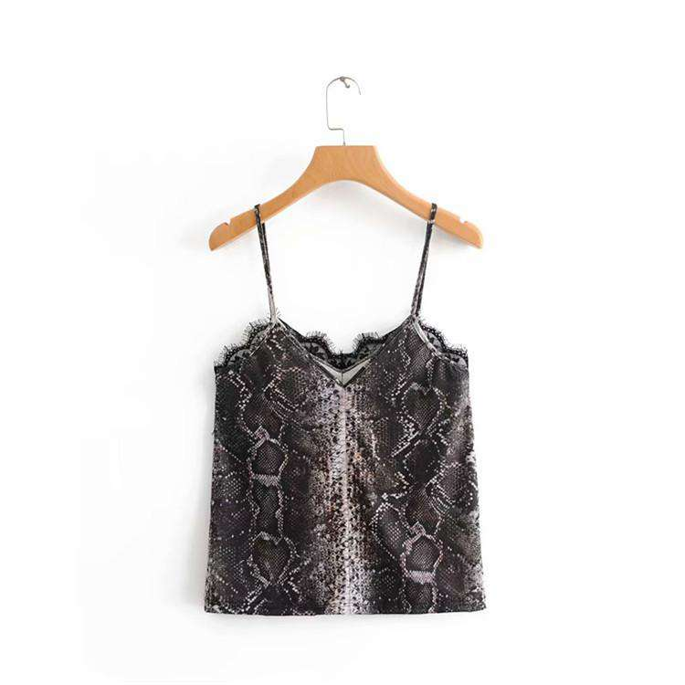 Snakeskin Print With Lace Side Cami Top