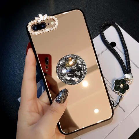 Mirror Rhinestone Side Phone Case for Samsung with Phone Holder gallery 8