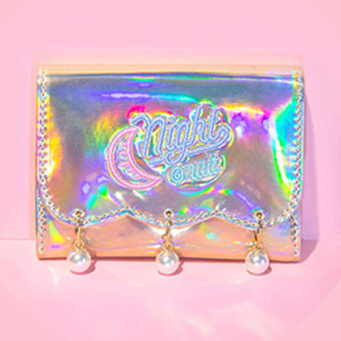 Pearl Decorated Laser Wallet Card Holder Techno Style gallery 8