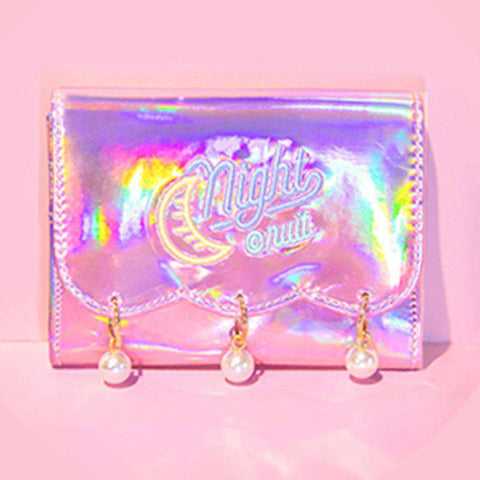 Pearl Decorated Laser Wallet Card Holder Techno Style gallery 9