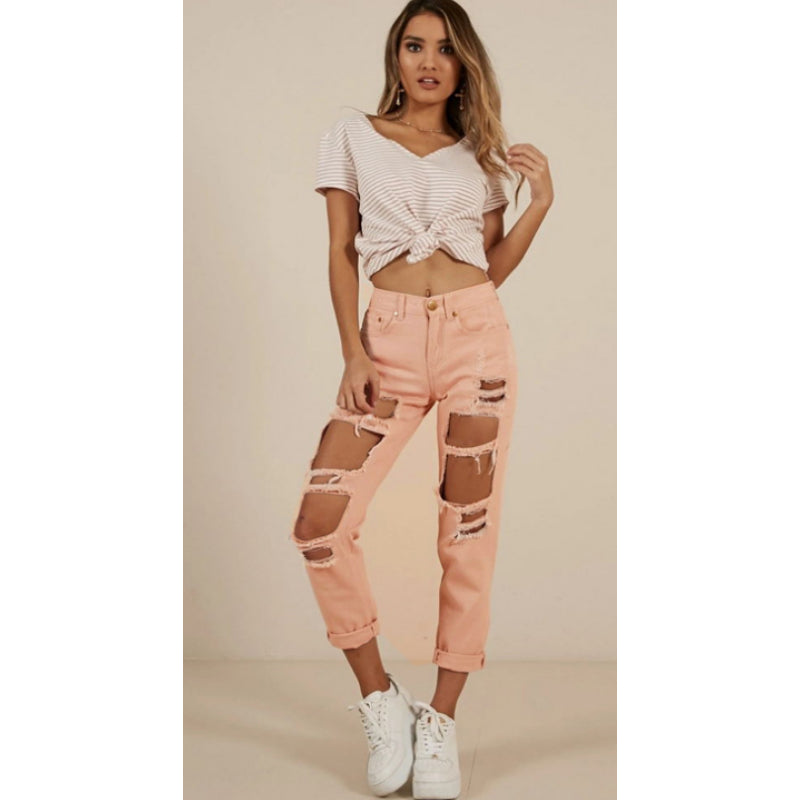 Pink High Waist Loose Straight Crop Ripped Jeans