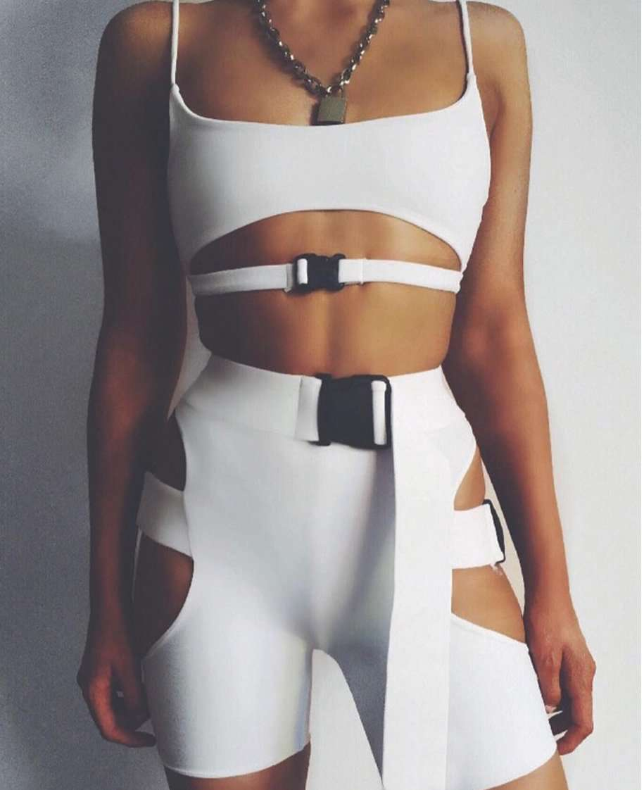 Sexy Sports Bra & Hollow Out School Bag Button Cropped Pants Yoga Set