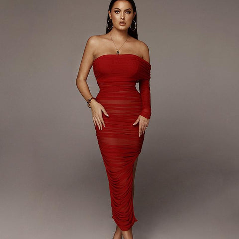Chic One Sleeve Bandeau Mesh Ruched Split Side Bodycon Dress gallery 1