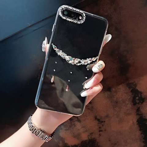 Asymmetric Rhinestone Clear Transparent Phone Case for Samsung gallery 2