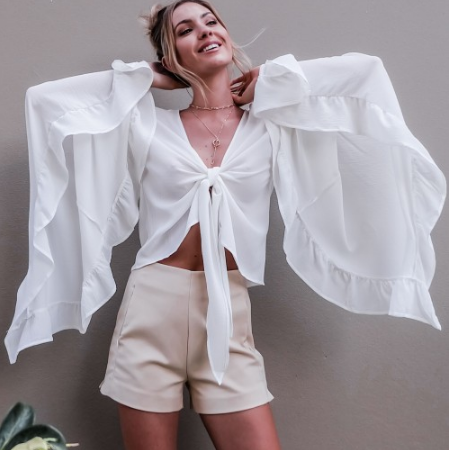Solid V-neck Flared Sleeves Open Front Tie Knot Cropped Chiffon Top