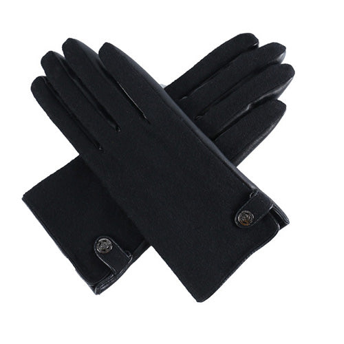 Wool And Faux Leather Touch Screen Gloves