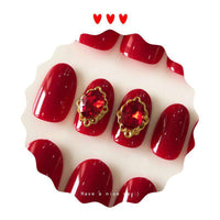 Red Rhinestone Royal Magic Press On Nail Manicure