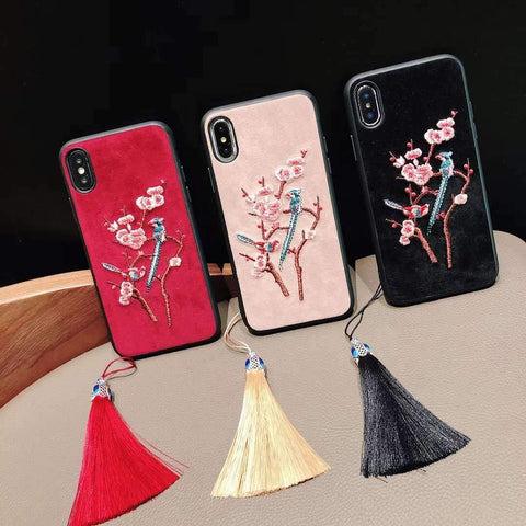Floral Embroidery iPhone Case with Tassel Pendant