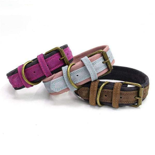 Double Layer Durable Frosted Cowhide Made Dog Collar