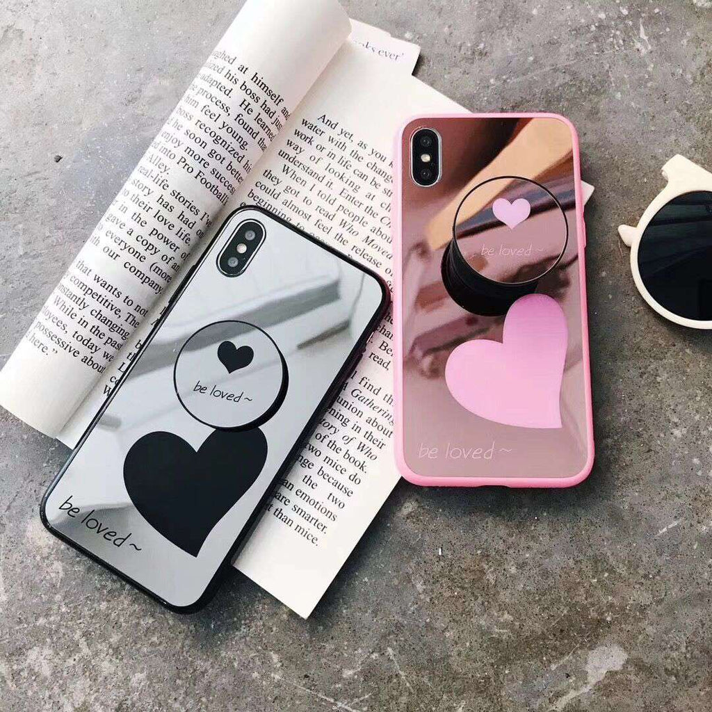Heart Print Mirror Design iPhone Case with Phone Holder
