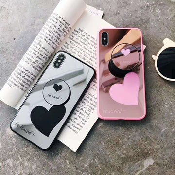 Heart Print With Mirror Phone Case For iPhone with Phone Holder